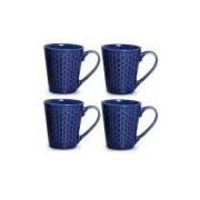 Conjunto de Canecas Colméia em Cerâmica 280 ml com 04 Peças Azul Navy