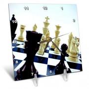 3dRose DC 155003_ 1Tablero de ajedrez con Diferentes Piezas de ajedrez Concepto Reloj de computadora, 6por 6-Inch