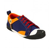 ZebX Perfect Comfortable Light Weight Blue and Orange Lace-Up Casual Sneakers Shoes For Men/Boys