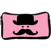 Snoogg Cute mustachePoly Canvas Student Pen Pencil Case Coin Purse Utility Pouch Cosmetic Makeup Bag