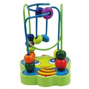 Highdas 1 Pc Circle Bead Maze Wooden Educational Toy for Baby & Toddler, Brightly Colorful Mini Wire Roller Puzzle Counting Frames, Bee [for 9+ Months]