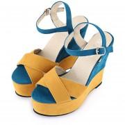 Sandalias De Cuña Mujer Wedge Sandals-Amarillo