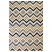 vidaXL Модерен килим, зигзаг дизайн, 80x150 см, кафяво/черно/синьо