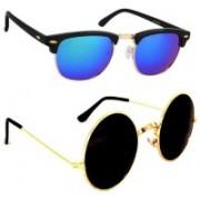DEIXELS Clubmaster Sunglasses(Black, Multicolor)