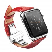 QIALINO Genuine Leather Watchband Wristband for Apple Watch Series 4 44mm / Series 3 / 2 / 1 42mm - Red