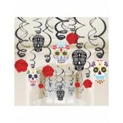 Vegaoo 30 doodskop spiraaldecoraties One Size