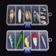 ER Transparente señuelo de la pesca del cebo de plástico caja de almacenamiento de contenedores del organizador del caso (Transparente)