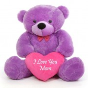 3.5 feet big purple teddy bear with pink I Love You Mom Heart