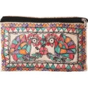 iMithila Beautiful Dancing Peacocks, Casual, Ethnic and Jeanswear Madhubani Handpainted Pure Tussar Silk Pouch(Multicolor)