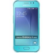 "Telefon Mobil Samsung Galaxy J1 Ace, Procesor Dual Core 1.2GHz Cortex-A7, TFT capacitive touchscreen 4.3"", 512MB RAM, 4GB Flash, 5MP, 3G, Wi-Fi, Dual Sim, Android (Turcoaz) + Cartela SIM Orange PrePay, 6 euro credit, 6 GB internet 4G, 2,000 minute nationa"