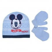 Mickey világoskék sapka-kesztyű szett