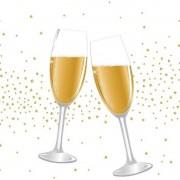 Duni 40x Feest/jubileum servetten champagne proost 33 x 33 cm