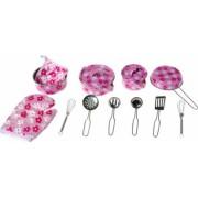 Set oale cratite si ustensile de bucatarie roz cu floricele 3 ani + Topi Toy