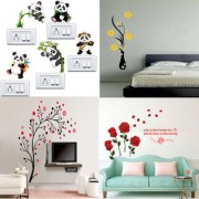 EJA Art Combo of 4 Wall Sticker Romantic Rose Flowers-(98 X64 Cms)|Panda-(60 X 50 Cms)|Flower Vase Yellow-(60 X 134 Cms)|Magical Tree-(150 X 150 Cms)-Matrial Vinyl