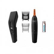 Комплект машинка за подстригване Philips HC3510 + Тример за нос и уши NT1150, Гребен с 13 степени от 0.5-23 мм, Приставка за брада