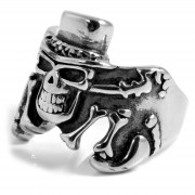 SteelCZ Stahlring mit Skelet-Motiv