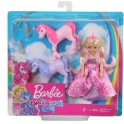 Set papusa Barbie Dreamtopia Chelsea - Printesa si Manjii de Unicorn