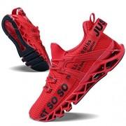 JSLEAP Zapatillas de correr para hombre con hoja antideslizante, 3rojo, 10