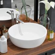 vidaXL Керамична мивка, кръгла, бяла, 42x12 см
