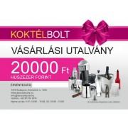 Koktélbolt vásárlási utalvány 20.000 Ft értékben