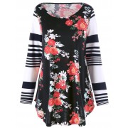 rosegal Plus Size Floral Stripes Long Sleeve Top