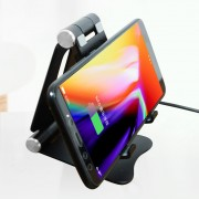 Adjustable 2-in-1 Aluminum Alloy Stand + 5W/7.5W/10W Wireless Fast Charger for iPhone Samsung etc. - Black