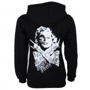 kapucnis pulóver női - Skull Bitch - BLACK HEART - 012-0001-BLK