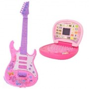 New Pinch Combo of Rockband Musical Instrument Guitar (Pink ) (53 cm) with Learning English Mini Screen Laptop for Kids