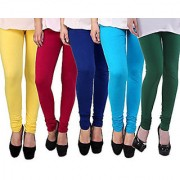 Pack of 5 Leggings - Yellow Red Blue Turquoise n Green