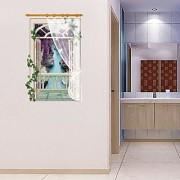 Jaamso Royals ' 3D Fake Window Lavender Sticker ' Wall Sticker (PVC Vinyl 90 cm X 60 cm Decorative Stickers)