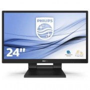 PHILIPS 24in TOUCH screen monitor, 10 punti touch, Projected capacitive technology, IPS, IP 54, palm rejection, vga, dvi, display port, hdmi, usb 2x 3.1, multimediale, base foldable, vesa 100*100, penna inclusa, nero