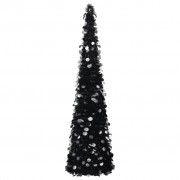 vidaXL Разгъваема изкуствена коледна елха, черна, 150 см, PET
