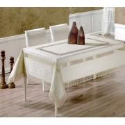Față de masă Valentini Bianco,160x160 cm, Model cu 2 broderii Alb
