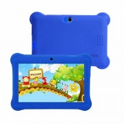 Q88 Kids Education Tablet PC, 7,0 inch, 512MB+8GB, Android 4.4 Allwinner A33 Quad Core, WiFi, Bluetooth, OTG, FM, Dual Camera, met siliconen hoesje (blauw)