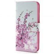 Carteira de Couro para iPhone 5 / 5S / SE - Flores Cor-de-Rosa