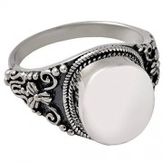 Memorial Gallery 2004s-8 Antique Round Ring Sterling Silver Cremation Pet Jewelry, Size 8