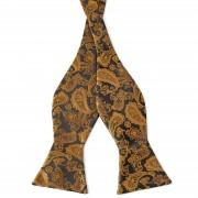 Tailor Toki Paisley Selbstbinder Fliege In Gold & Braun