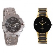 IIK Collection Round Dial Multicolor Metal Strap Quartz Watch for Men (Combo)