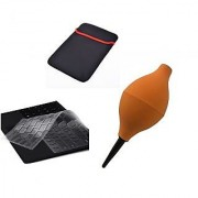 De-techinn 3 in 1 Combo of Laptop Sleeves Silicon Keyboard Protecter With Air Blower Keyboard Remover