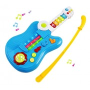 Vokodo Toy Guitar Battery 3-in-1 Electric Kids Guitar Toy with Violin Stick and Piano Keyboard Transformation w/ Lights For Kids Boys Girls Children Educational Musical Set