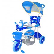 Toy House Easy to Steer Penguin Baby Tricycle with Canopy and Push Handle Steering System Blue