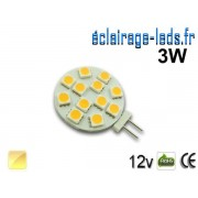 Ampoule led G4 12 led SMD 5050 blanc chaud 12v ref g4-04