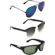 Abner Aviator, Clubmaster, Wrap-around Sunglasses(Blue, Black, Green)