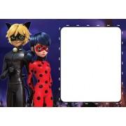 10 Convites Miraculous Ladybug e Cat Noir 15x10 cm