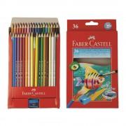 Creioane colorate acuarela si pensula 36 culori/set FABER-CASTELL, FC114437