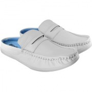 Blinder Men's Pure White Casual Slip On Sneakers Mocassion Shoes