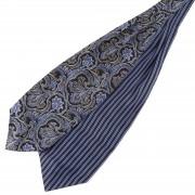 Tailor Toki Cravate Ascot en soie à motif baroque et rayures bleues