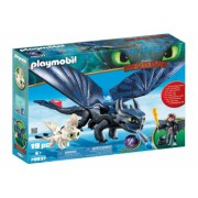 Playmobil Dragons - Hiccup Toothless si pui de dragon
