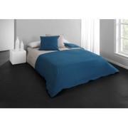 CONFORAMA Parure de lit housse 260x240 cm+ 2 taies d'oreiller PERLA coloris bleu canard/ beige