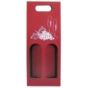 Karton na 2 vína s obrázkem - červený